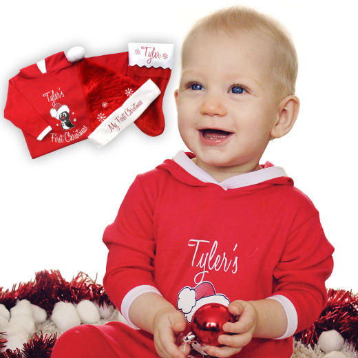 Personalised Baby's First Christmas Set