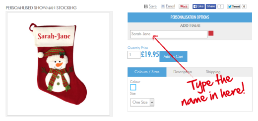 Easily personalised christmas stocking