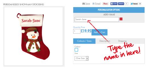 Easily personalised christmas stocking